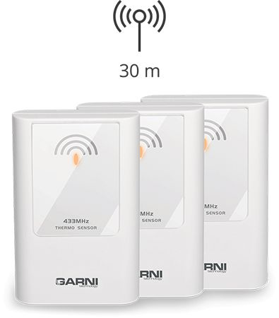 Up to 3 wireless sensors can be connected GARNI 335 Arcus
